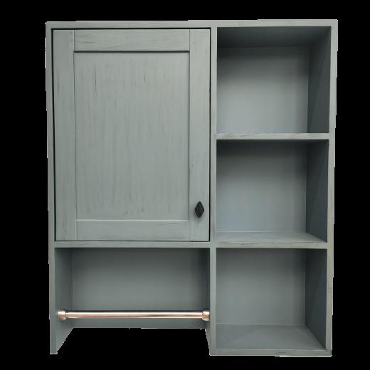 馬桶上收納櫃(復古藍)