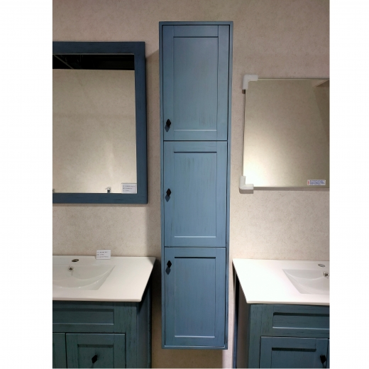三門收納側櫃(復古藍)